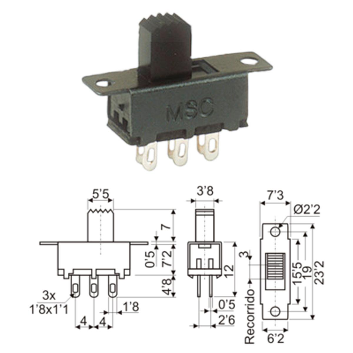 Interruptor conmutador deslizante 2p 2c 15x6x8mm - Conmutador de luz ...