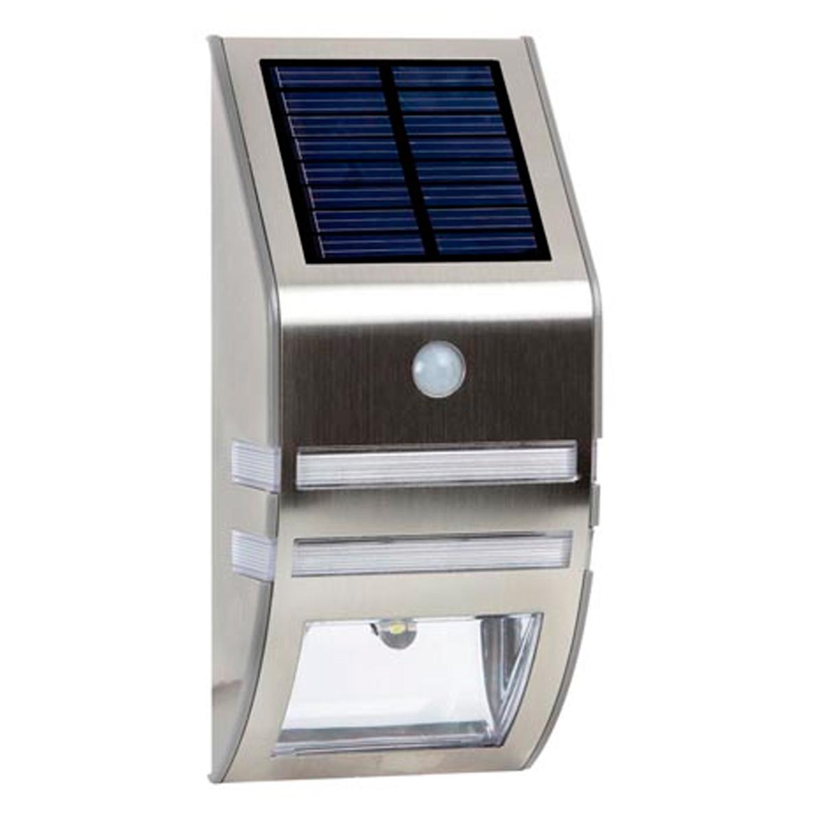 L mpara solar mural para exteriores pir 0 5w acero inoxidable energia solar energia - Lampara solar exterior ...