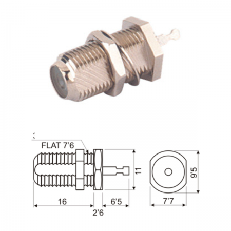 Conector F hembra - chasis