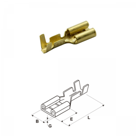 Conector faston 4.8mm - hembra