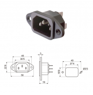 Conector IEC 320 C14 - chasis