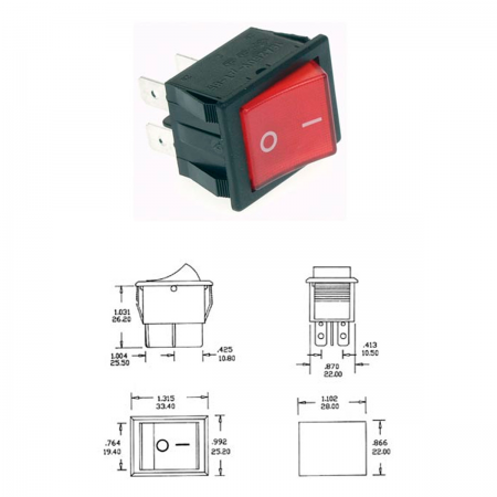 Interruptor basculante 10A - 250V ON-OFF - rojo