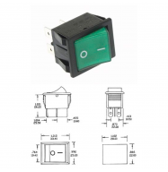 Interruptor basculante 10A - 250V ON-OFF - verde