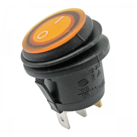 Interruptor basculante ON/OFF 250V 6.5A - amarillo (estanco)