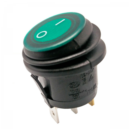 Interruptor basculante ON/OFF 250V 6.5A - verde (estanco)