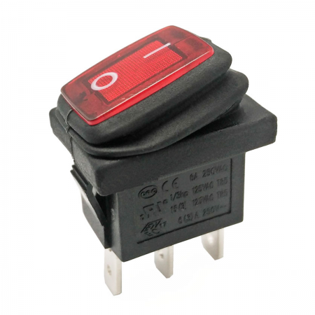 Interruptor basculante ON/OFF 250V 6A - rojo (estanco)