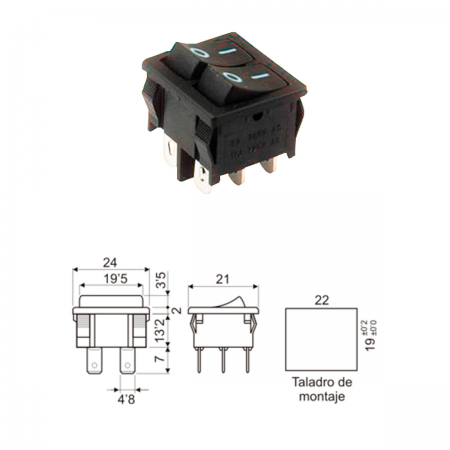 Interruptor basculante ON/OFF doble 10A 250V - negro