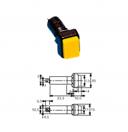 Interruptor chasis rectangular OFF/ON - amarillo