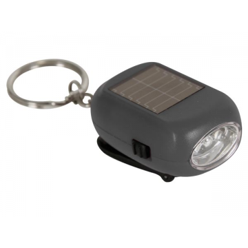 Linterna LED recargable - dinamo + solar - 2 LED