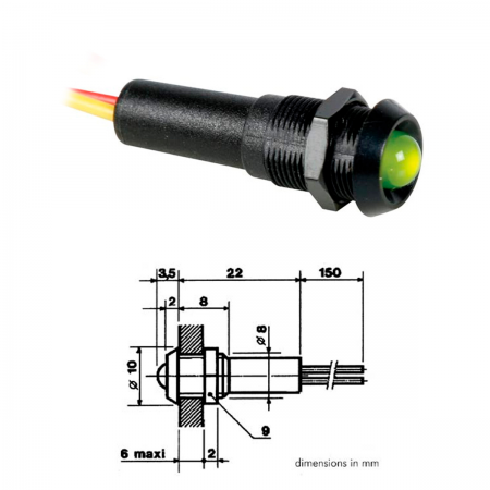 Piloto LED 5mm 24V - verde