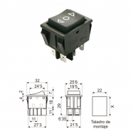 Pulsador basculante ON/OFF/ON 250V 16A - negro