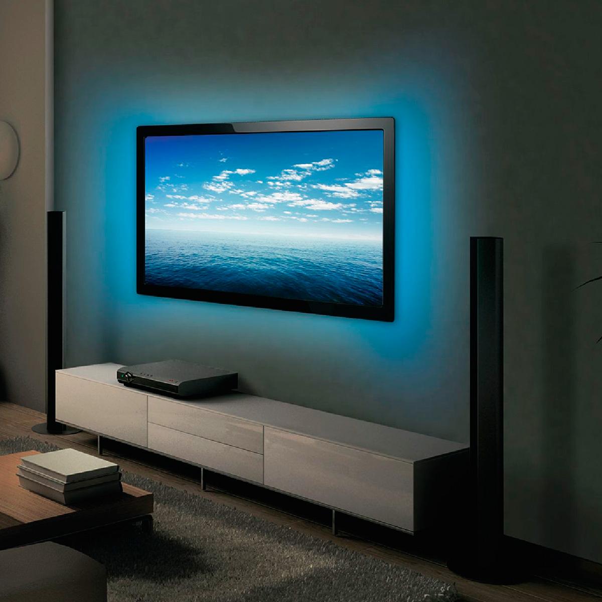 Tira de leds rgb con mando para tv 2x50cm iluminaci n - Iluminacion tiras led ...