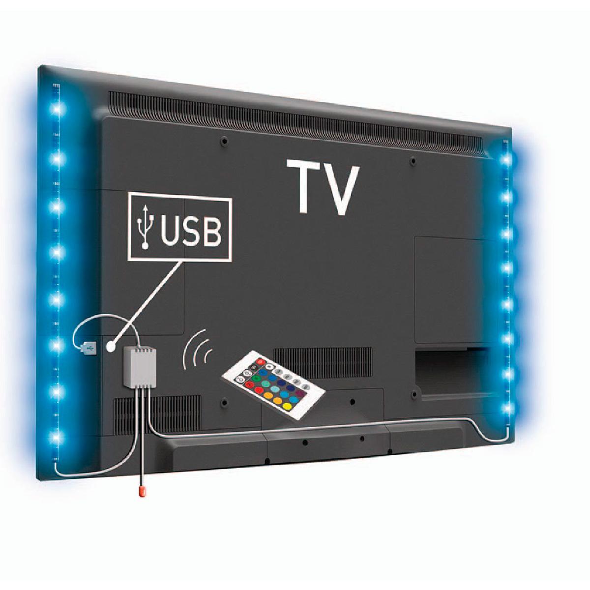 Tira de leds rgb con mando para tv 2x50cm for Tiras led para tv