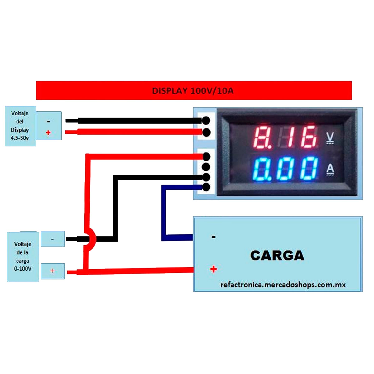 voltmeter wiring diagram for dc voltimetro amperimetro digital  100v 10a   voltimetro amperimetro digital  100v 10a