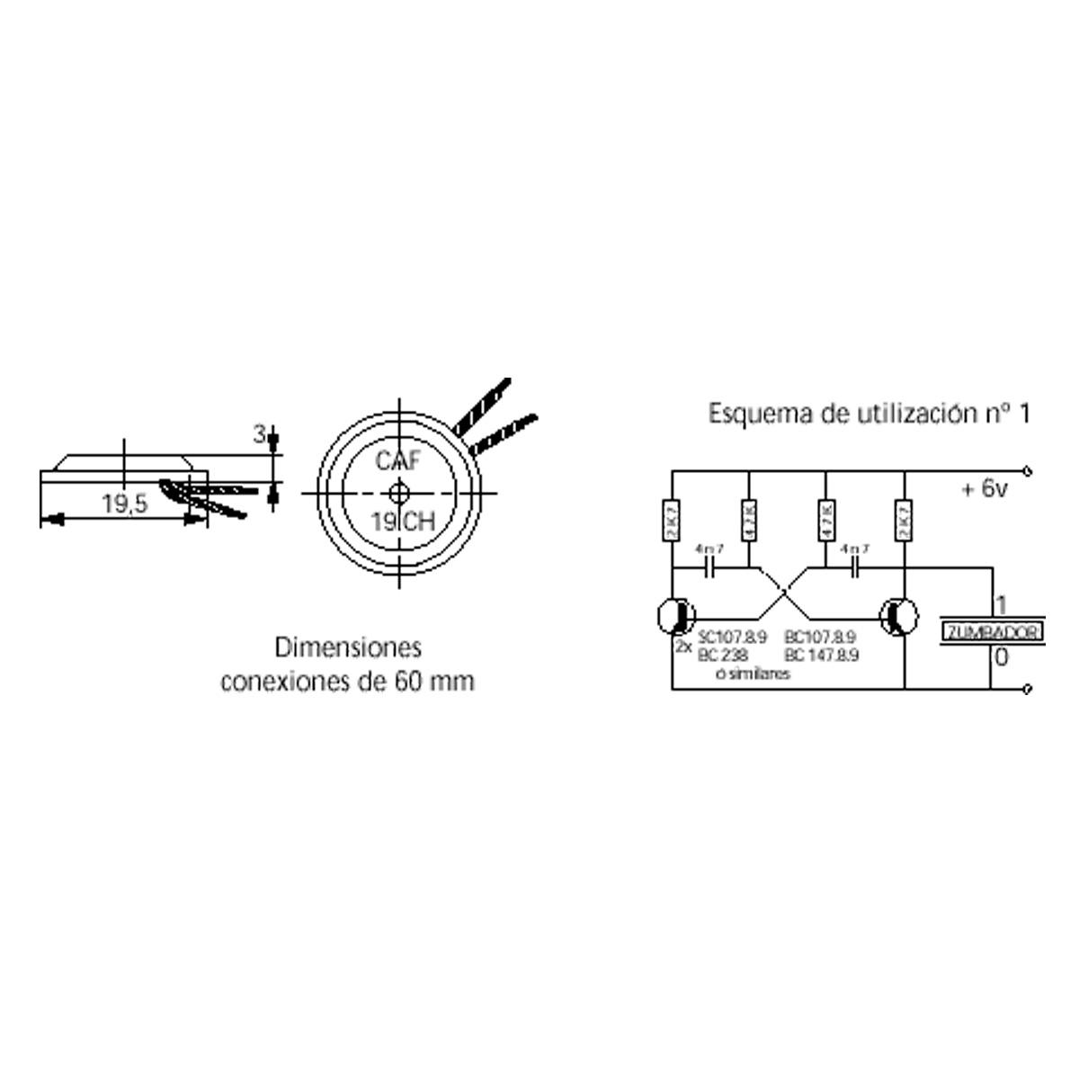 Circuito Oscilador : Zumbador piezoelectrico Ø mm sin oscilador u e sensores y