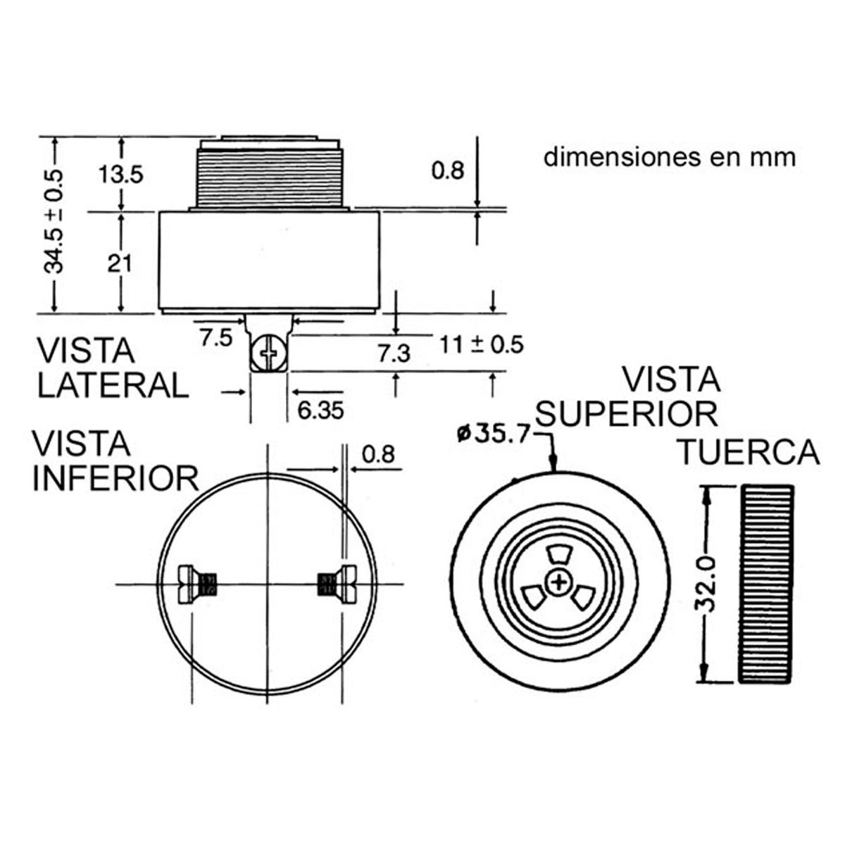 Circuito Zumbador Piezoelectrico : Zumbador piezoelectrico vdc gt sensores y transductores